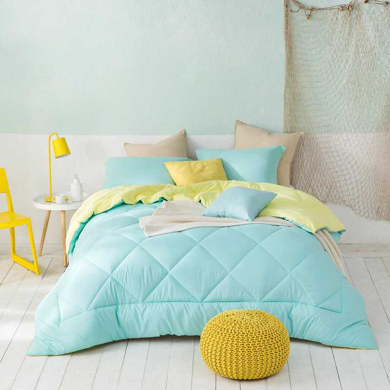 CRYS-MICRO-REV-TXL-YULY: Yucca/Limelight Yellow Reversible Twin XL Comforter