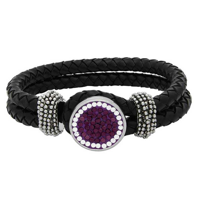 QQ-1SLB-AME-CRY: 1-Snap Black Leather Bracelet - AME/CRY (Grape/CRY)