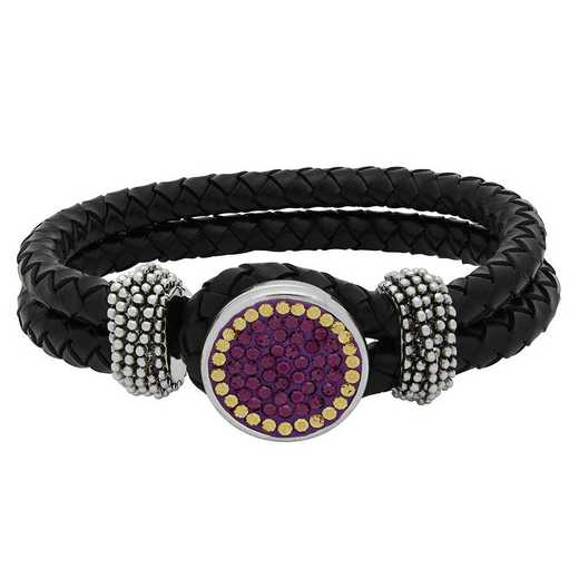 QQ-1SLB-AME-LCT: 1-Snap Black Leather Bracelet - AME/LCT (Grape/Champagne)