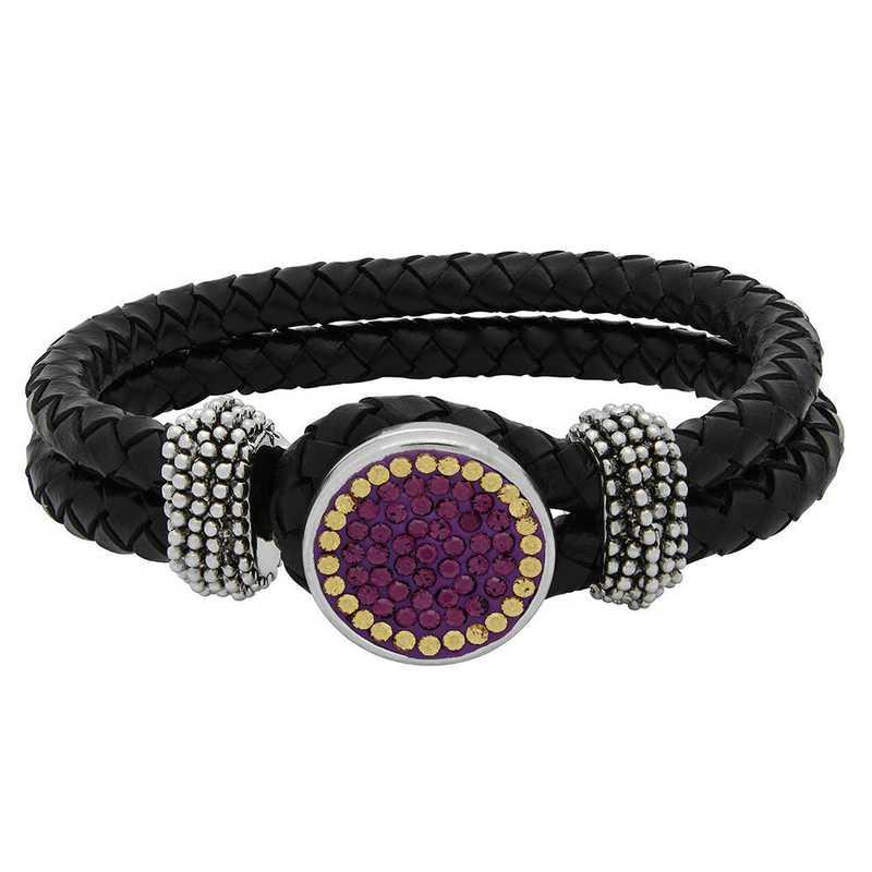 QQ-1SLB-AME-LCT: 1-Snap Black Leather Bracelet - AME/LCT (Grape/Champagne)