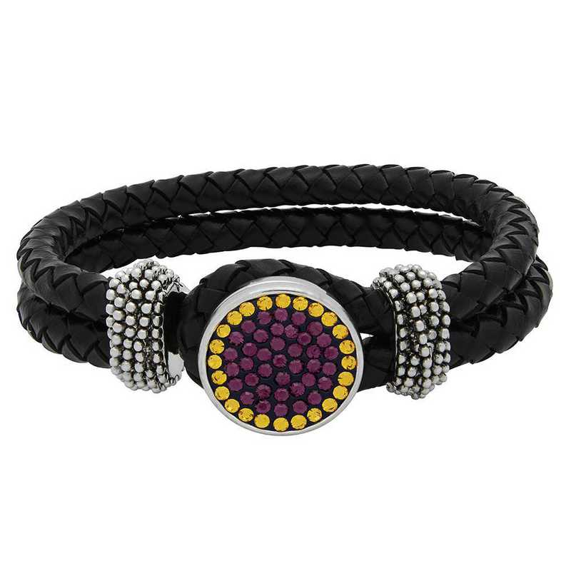 QQ-1SLB-AME-TOP: 1-Snap Black Leather Bracelet - AME/Topaz (Grape/Pumpkin)