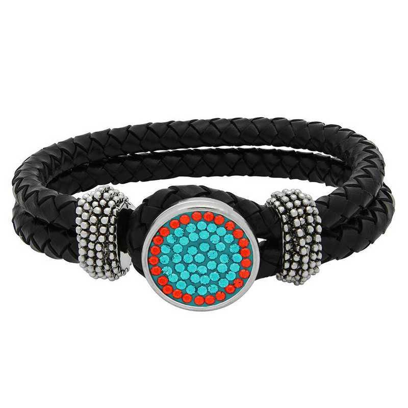 QQ-1SLB-BLZIR-HYA: 1-Snap Black Leather Bracelet -BluZircon/HYA(Teal/Tangerine)