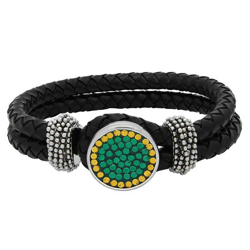 QQ-1SLB-EME-TOP: 1-Snap Black Leather Bracelet - EME/Topaz (EME/Pumpkin)