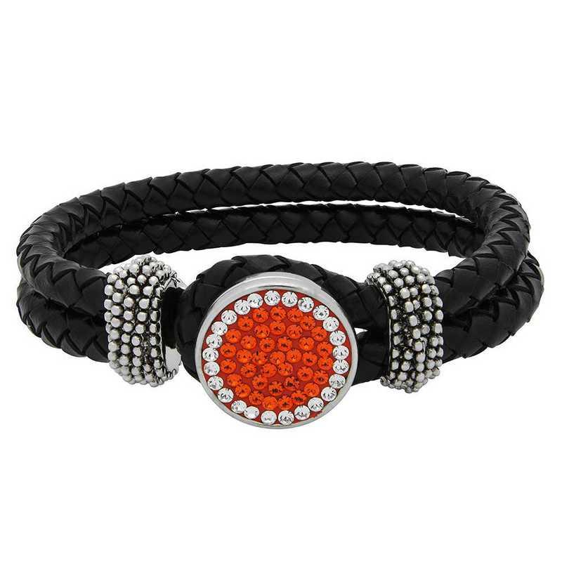 QQ-1SLB-HYA-CRY: 1-Snap Black Leather Bracelet - HYA/CRY (Tangerine/CRY)