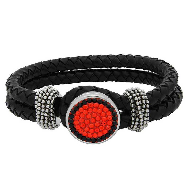 QQ-1SLB-HYA-JET: 1-Snap Black Leather Bracelet - HYA/Jet (Tangerine/Jet)