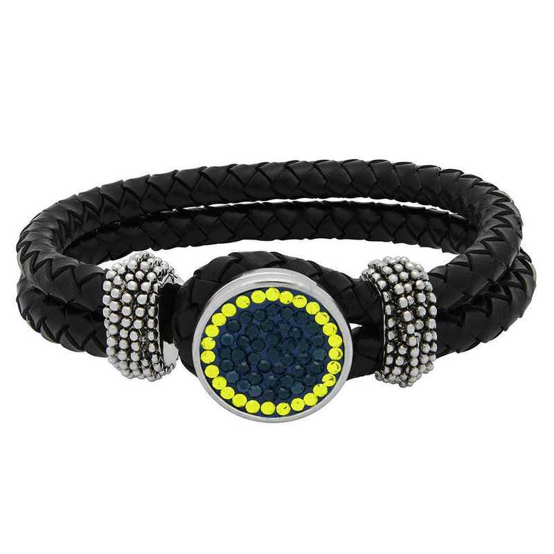QQ-1SLB-MON-CIT: 1-Snap Black Leather Bracelet - MON/Citrine(LondonBlu/Ctrne)