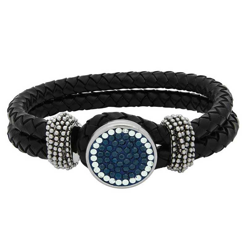QQ-1SLB-MON-CRY: 1-Snap Black Leather Bracelet - MON/CRY (London Blue/CRY)