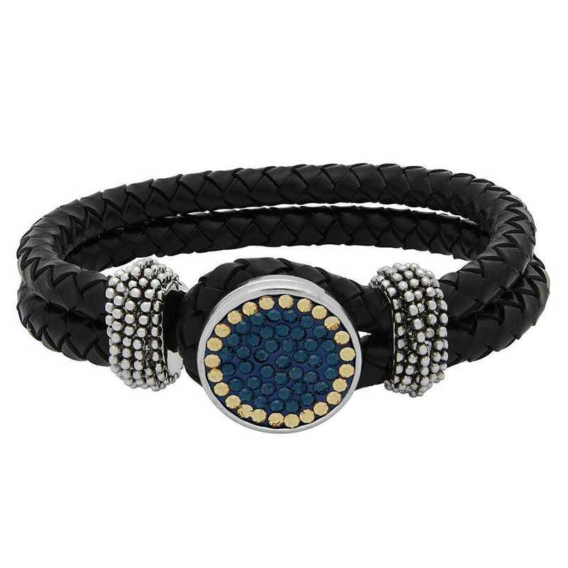 QQ-1SLB-MON-LCT: 1-Snap Black Leather Bracelet - MON/LCT(LondonBlu/Champagne)