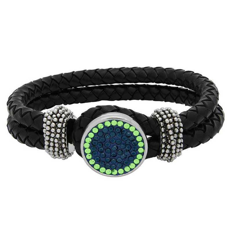 QQ-1SLB-MON-PER: 1-Snap Black Leather Bracelet - MON/Peridot(LondonBlu/Grass)
