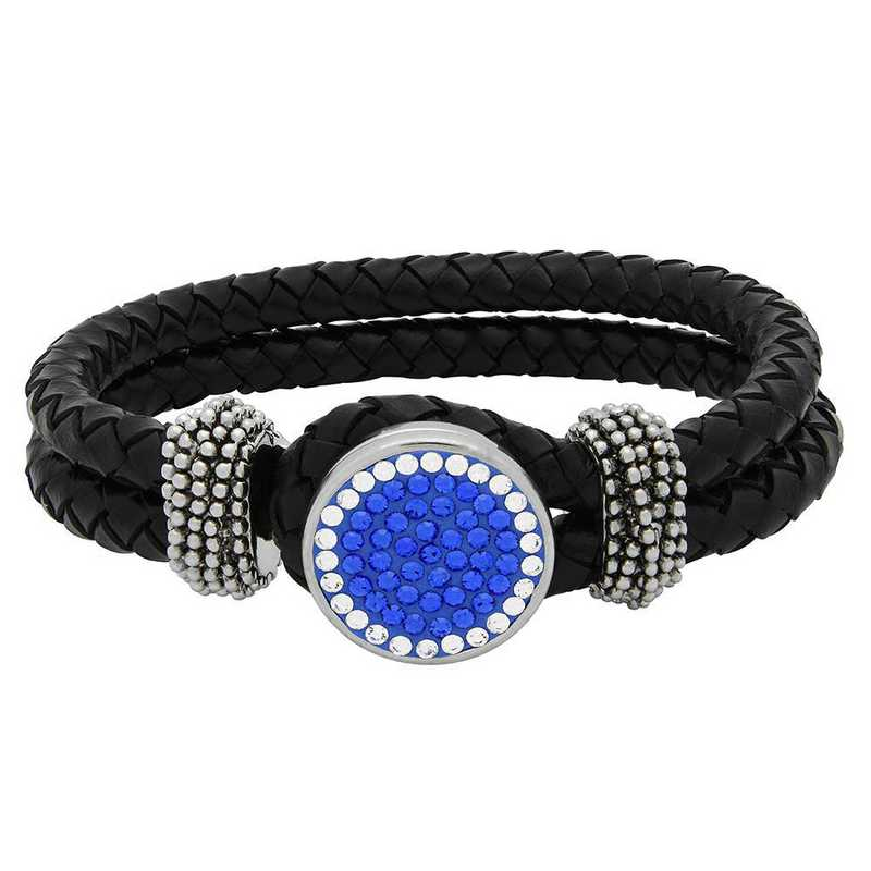 QQ-1SLB-SAP-CRY: 1-Snap Black Leather Bracelet - SAP/CRY (Periwinkle/CRY)