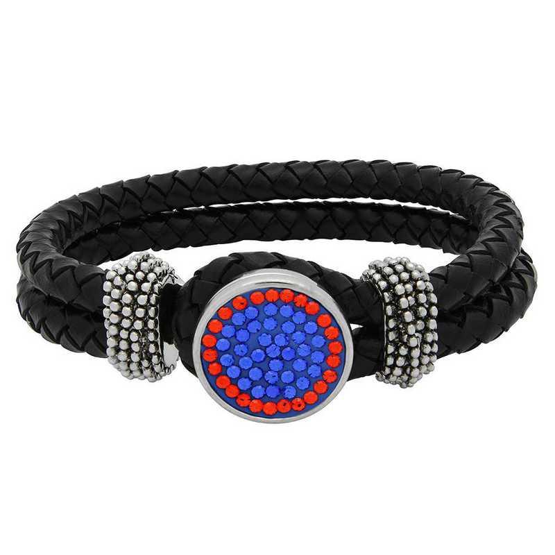 QQ-1SLB-SAP-HYA: 1-Snap Black Leather Bracelet - SAP/HYA(Periwinkle/Tangrine)