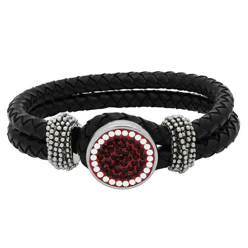 QQ-1SLB-SIA-CRY: 1-Snap Black Leather Bracelet - Siam/CRY (Ruby/CRY)