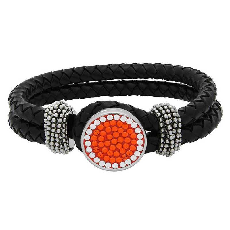 QQ-1SLB-SUN-CRY: 1-Snap Black Leather Bracelet - Sun/CRY