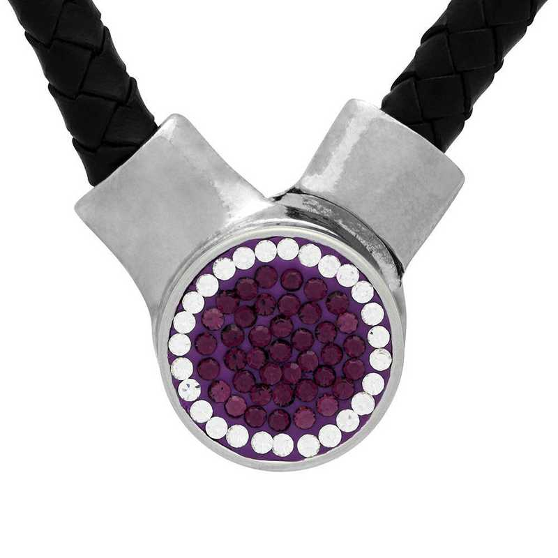 QQ-1SLN-AME-CRY: 1-Snap Black Leather Necklace - AME/CRY (Grape/CRY)