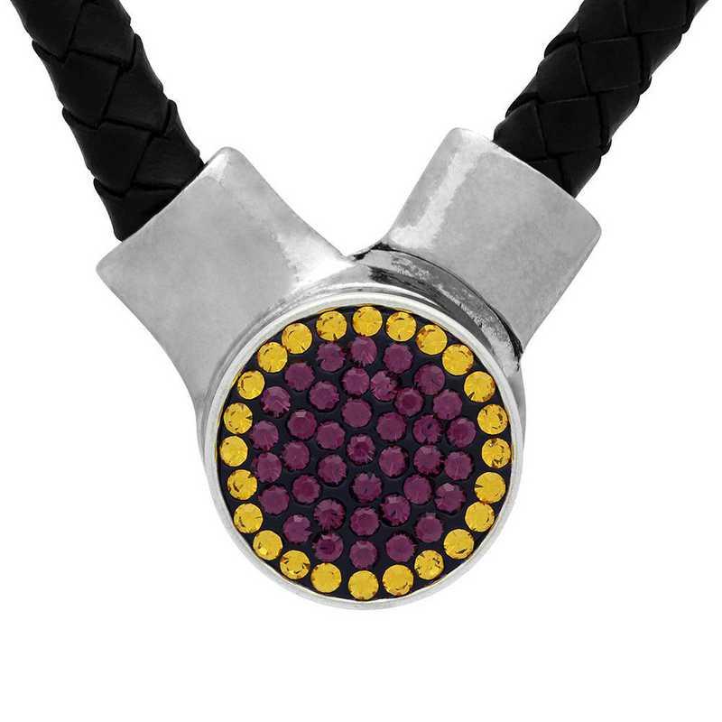 QQ-1SLN-AME-TOP: 1-Snap Black Leather Necklace - AME/Topaz (Grape/Pumpkin)