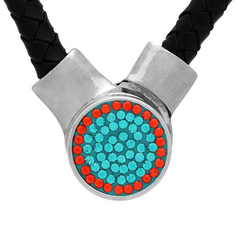 QQ-1SLN-BLZIR-HYA: 1-Snap Black Leather Necklace - BluZrcon/HYA(Teal/Tangerine)