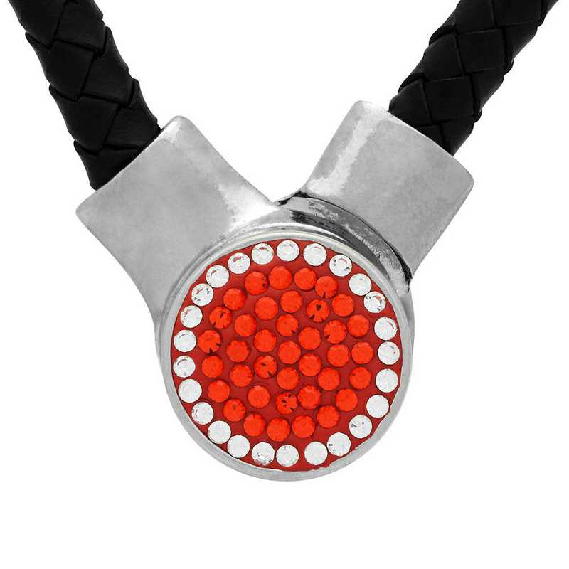QQ-1SLN-HYA-CRY: 1-Snap Black Leather Necklace - HYA/CRY (Tangerine/CRY)