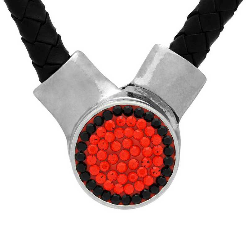QQ-1SLN-HYA-JET: 1-Snap Black Leather Necklace - HYA/Jet (Tangerine/Jet)