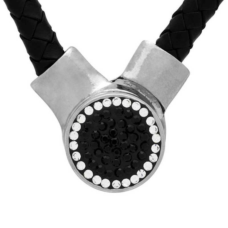QQ-1SLN-JET-CRY: 1-Snap Black Leather Necklace - Jet/CRY