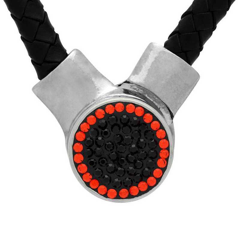 QQ-1SLN-JET-HYA: 1-Snap Black Leather Necklace - Jet/HYA (Jet/Tangerine)
