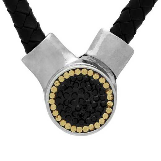 QQ-1SLN-JET-LCT: 1-Snap Black Leather Necklace - Jet/LCT (Jet/Champagne)