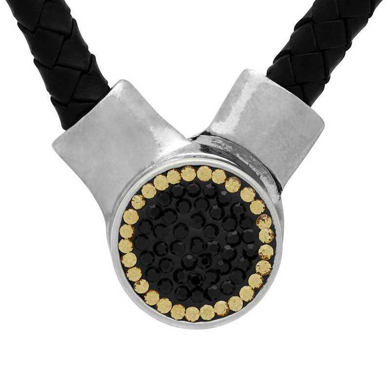 QQ-1SLN-JET-LCT: 1-Snap Black Leather Necklace - Jet/LCT (Jet/Champagne)