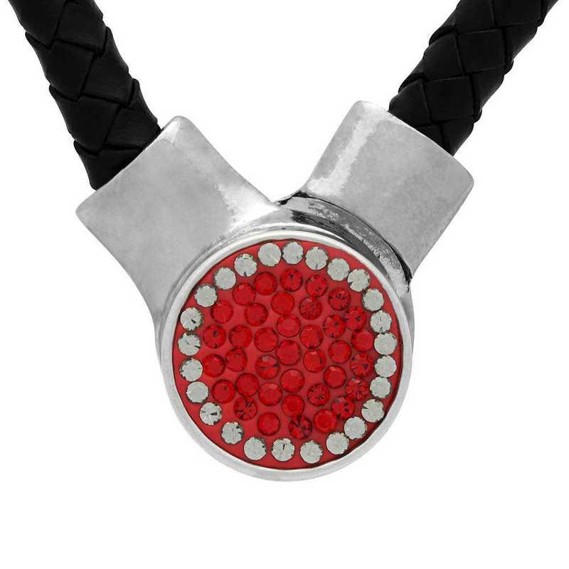 QQ-1SLN-LTSIA-BLKDIA: 1-Snap Black Leather Necklace - LTSIA/Blk DIA (Red/Platinum)