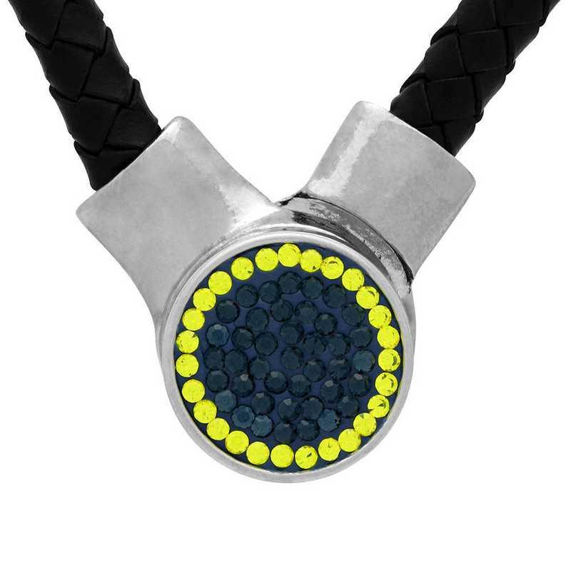 QQ-1SLN-MON-CIT: 1-Snap Black Leather Necklace - MON/Citrine(LondonBlu/Ctrne)