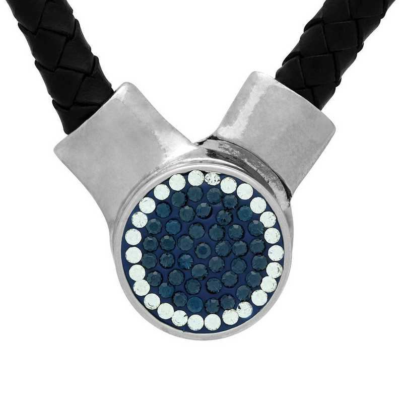 QQ-1SLN-MON-CRY: 1-Snap Black Leather Necklace - MON/CRY (London Blue/CRY)