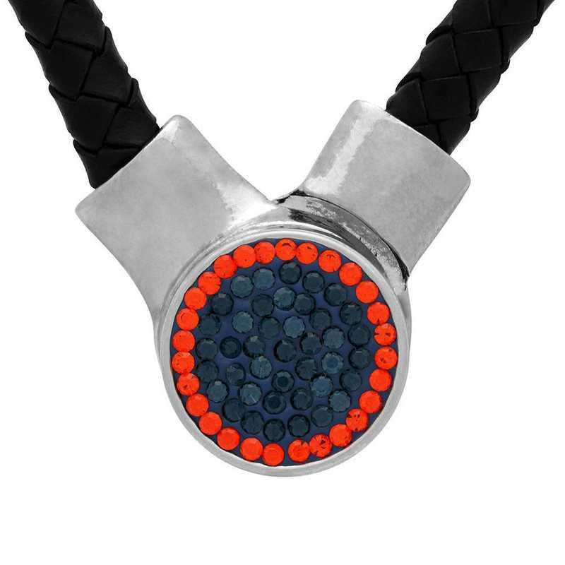 QQ-1SLN-MON-HYA: 1-Snap Black Leather Necklace - MON/HYA(LondonBlu/Tangerine)