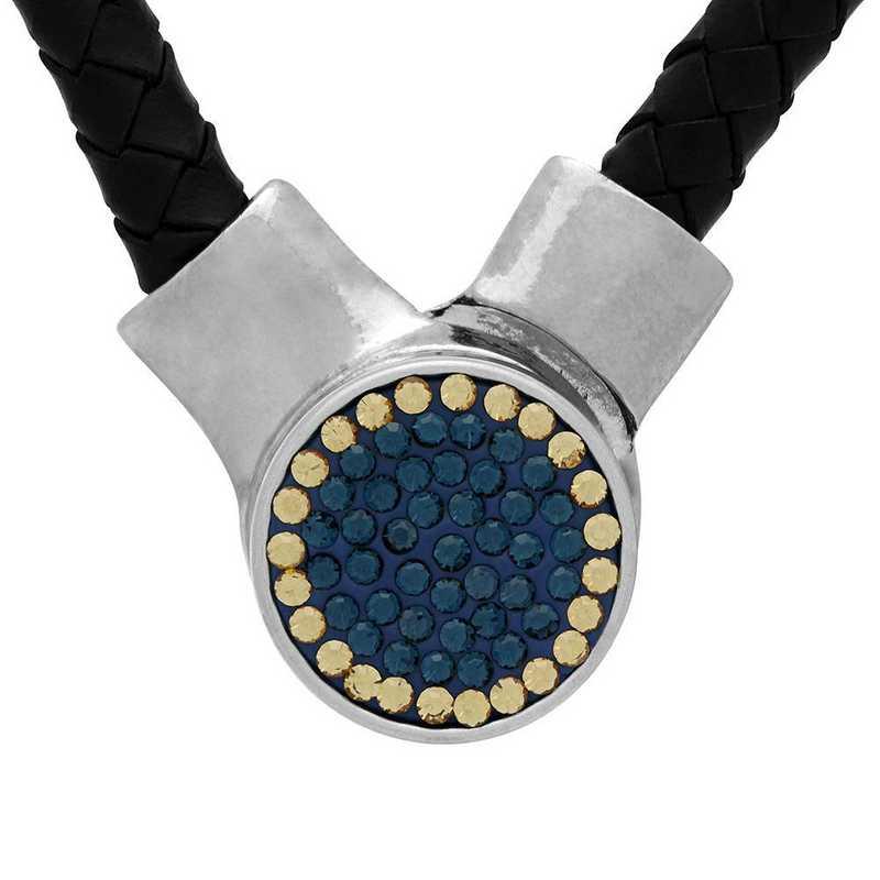 QQ-1SLN-MON-LCT: 1-Snap Black Leather Necklace - MON/LCT(LondonBlu/Champagne)