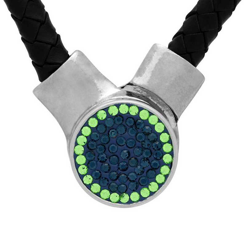 QQ-1SLN-MON-PER: 1-Snap Black Leather Necklace - MON/Peridot(LondonBlu/Grass)