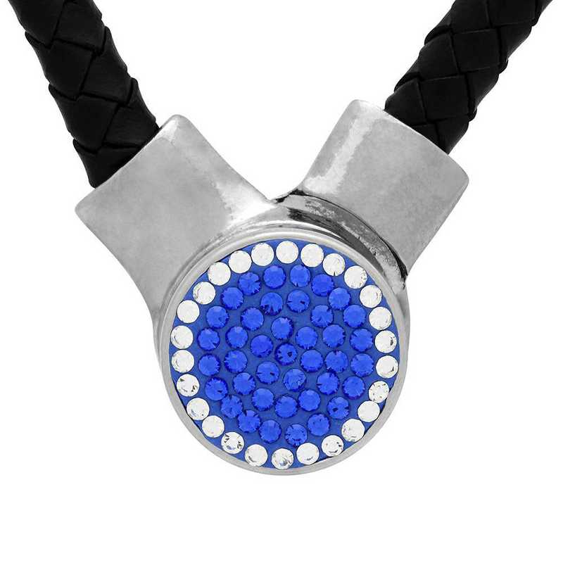 QQ-1SLN-SAP-CRY: 1-Snap Black Leather Necklace - SAP/CRY (Periwinkle/CRY)