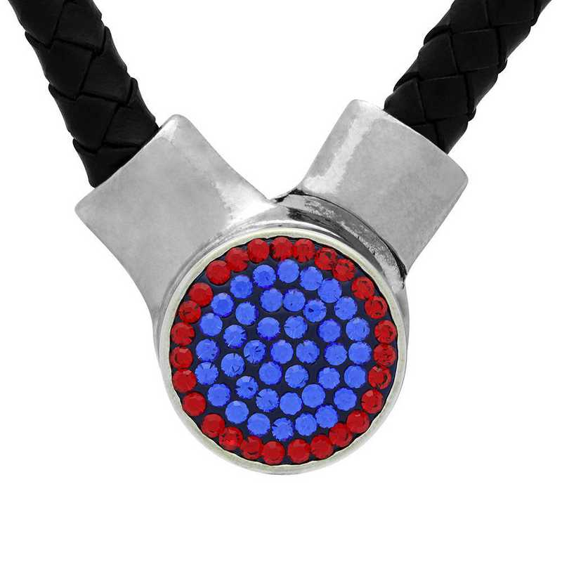 QQ-1SLN-SAP-LTSIA: 1-Snap Black Leather Necklace - SAP/LTSIA (Periwinkle/Red)
