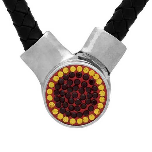 QQ-1SLN-SIA-TOP: 1-Snap Black Leather Necklace - Siam/Topaz (Ruby/Pumpkin)