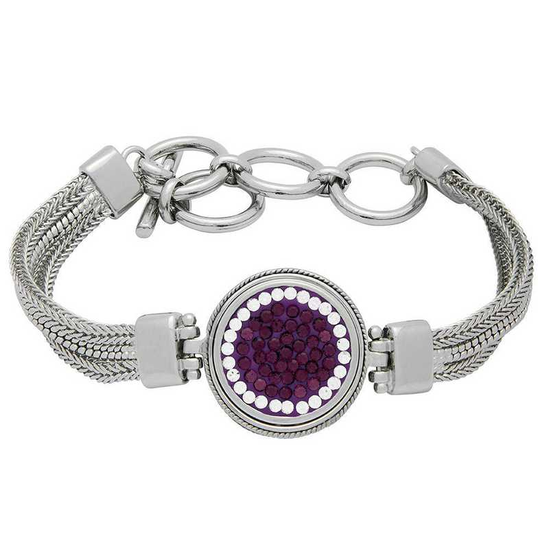 QQ-1SMB-AME-CRY: 1-Snap Metal Bracelet - AME/CRY (Grape/CRY)