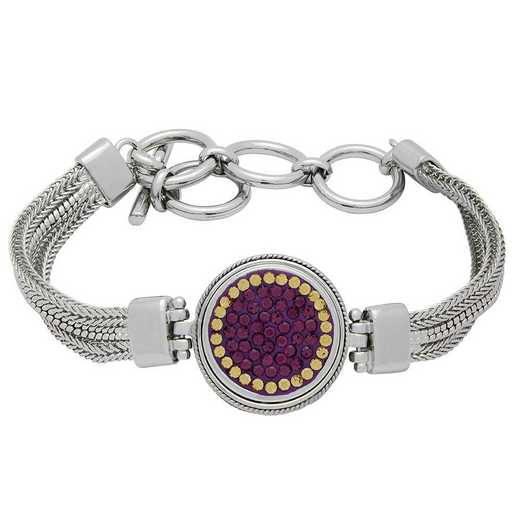 QQ-1SMB-AME-LCT: 1-Snap Metal Bracelet - AME/LCT (Grape/Champagne)