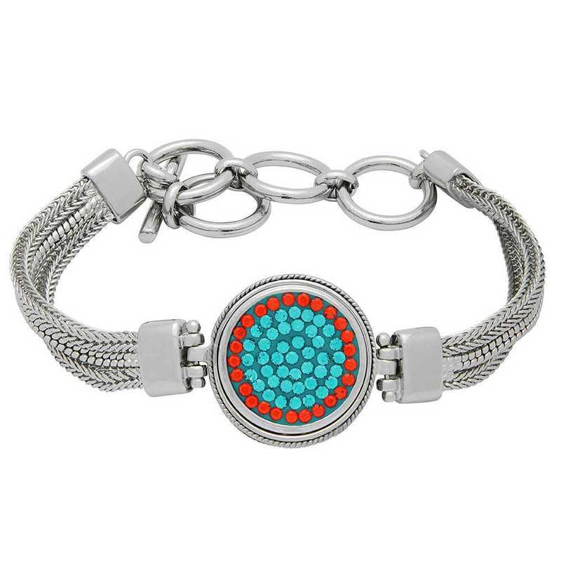 QQ-1SMB-BLZIR-HYA: 1-Snap Metal Bracelet - Blue Zircon/HYA (Teal/Tangerine)