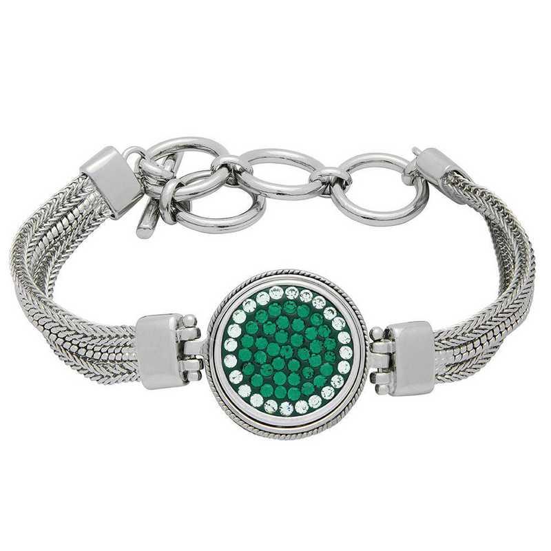 QQ-1SMB-EME-CRY: 1-Snap Metal Bracelet - EME/CRY