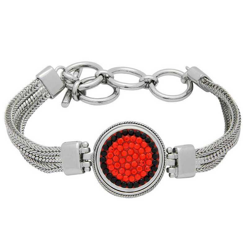 QQ-1SMB-HYA-JET: 1-Snap Metal Bracelet - HYA/Jet (Tangerine/Jet)