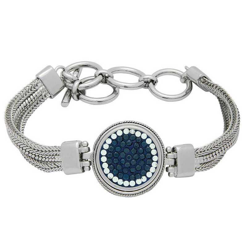 QQ-1SMB-MON-CRY: 1-Snap Metal Bracelet - MON/CRY (London Blue/CRY)
