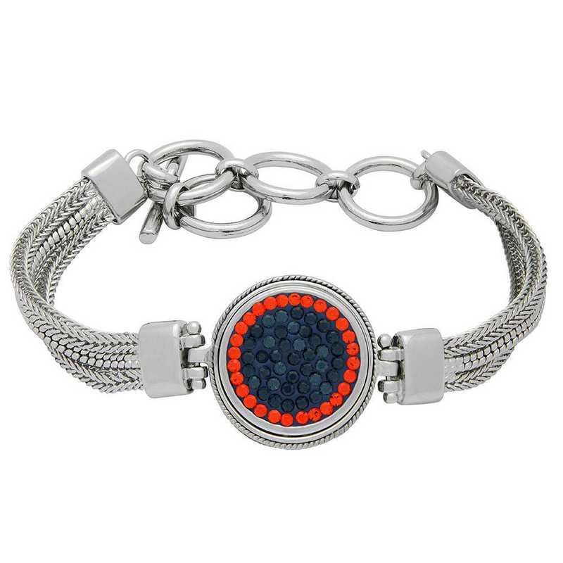 QQ-1SMB-MON-HYA: 1-Snap Metal Bracelet - MON/HYA (London Blue/Tangerine)