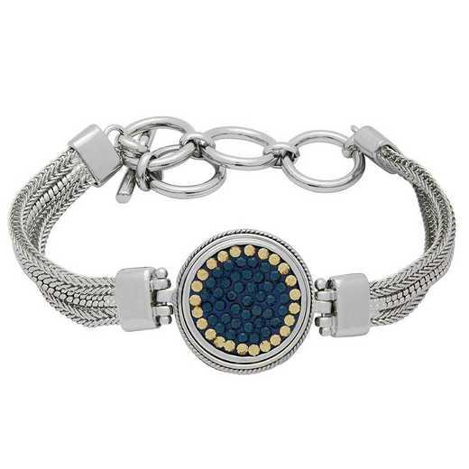 QQ-1SMB-MON-LCT: 1-Snap Metal Bracelet - MON/LCT (London Blue/Champagne)