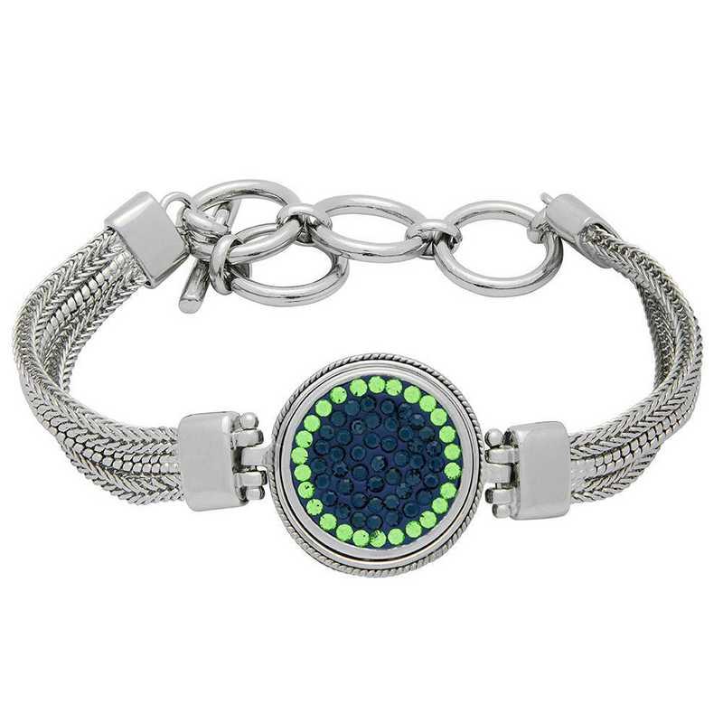 QQ-1SMB-MON-PER: 1-Snap Metal Bracelet - MON/Peridot (London Blue/Grass)