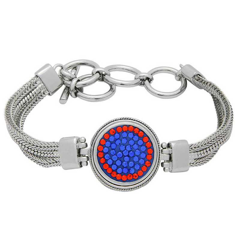 QQ-1SMB-SAP-HYA: 1-Snap Metal Bracelet - SAP/HYA (Periwinkle/Tangerine)