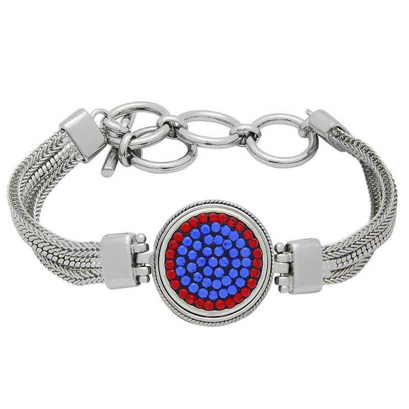 QQ-1SMB-SAP-LTSIA: 1-Snap Metal Bracelet - SAP/LTSIA (Periwinkle/Red)