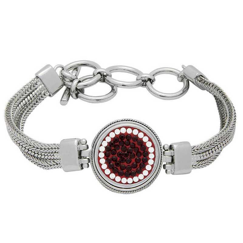 QQ-1SMB-SIA-CRY: 1-Snap Metal Bracelet - Siam/CRY (Ruby/CRY)