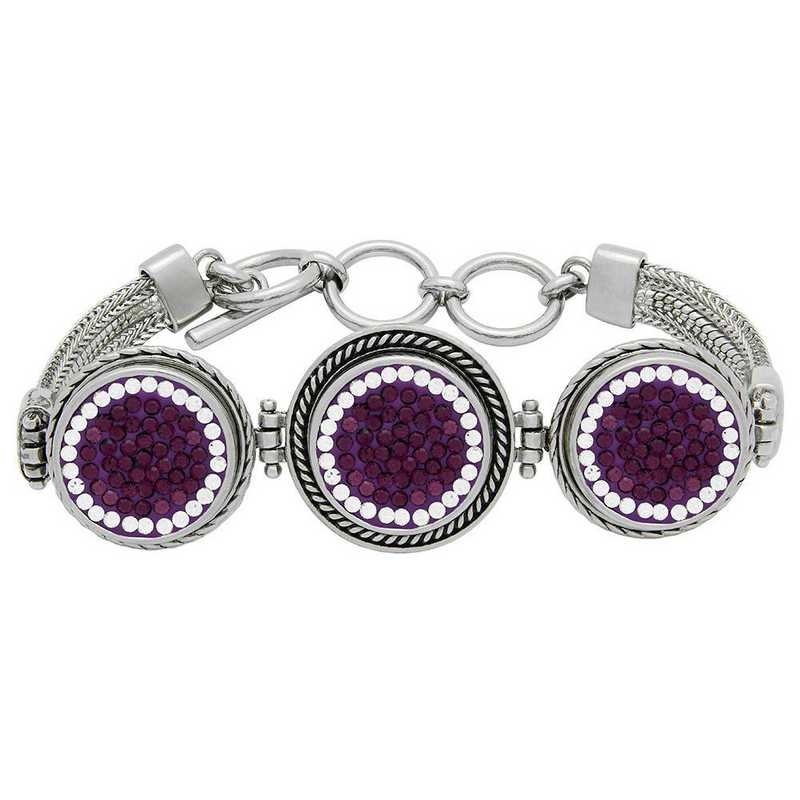 QQ-3SMB-AME-CRY: 3-Snap Metal Bracelet - AME/CRY (Grape/CRY)