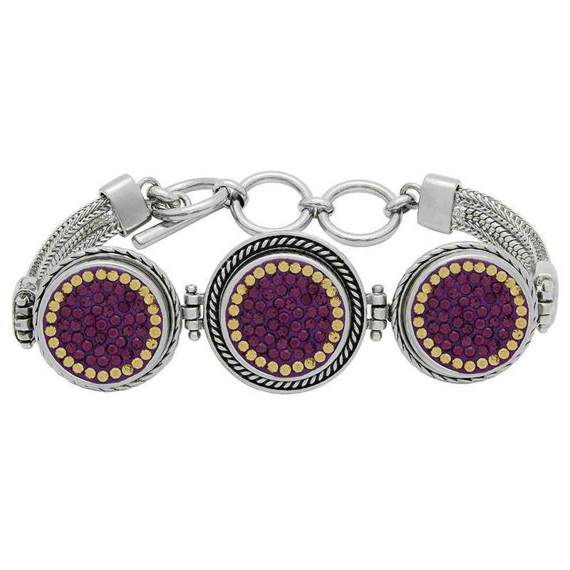 QQ-3SMB-AME-LCT: 3-Snap Metal Bracelet - AME/LCT (Grape/Champagne)