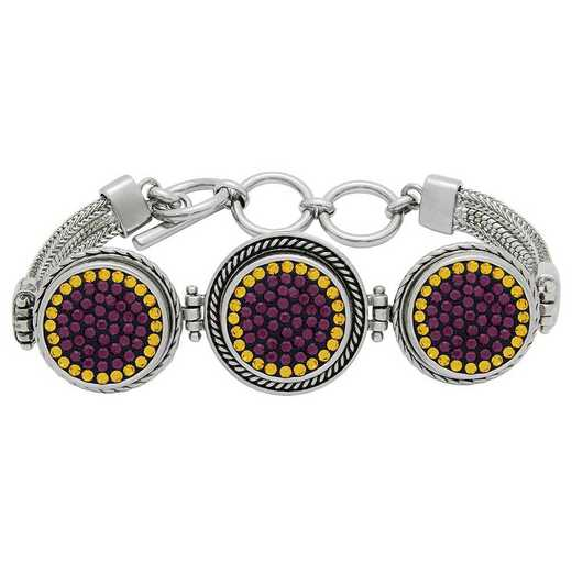 QQ-3SMB-AME-TOP: 3-Snap Metal Bracelet - AME/Topaz (Grape/Pumpkin)
